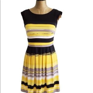 Max and Cleo Fit & Flare Yellow, Black, Gray Dress